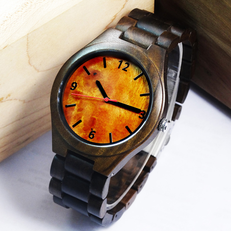 2018 New Natural Black Wood Watch Men Business Luxury Stop Watch Quartz Movement Wood Watches Luxury Gift Full Wooden Watches