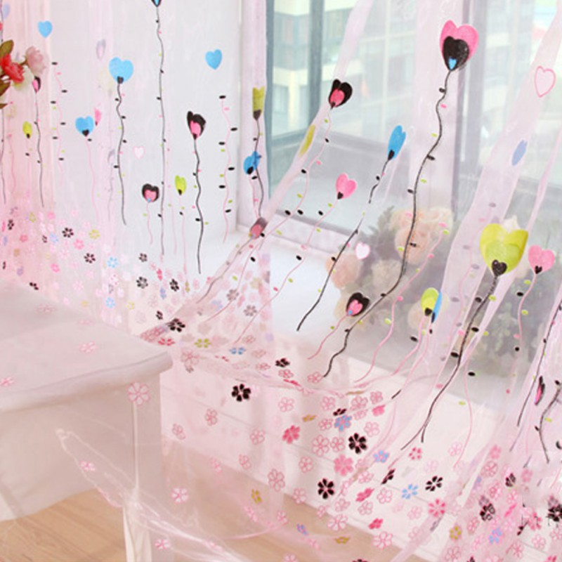 Newest Heart Shaped Balloon Pattern Curtains The Light Transmitting Screens  Decorated For The Living Room Bedroom Study