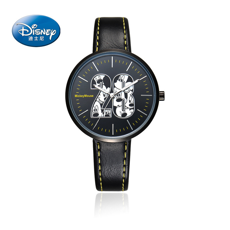 Disney brand Mickey mouse black Genuine leather quartz watches for mens and womens loves students waterproof casual clocks disney original brand genuine leather purple mickey mouse watches for womens luxury diamond quartz female clocks waterproof
