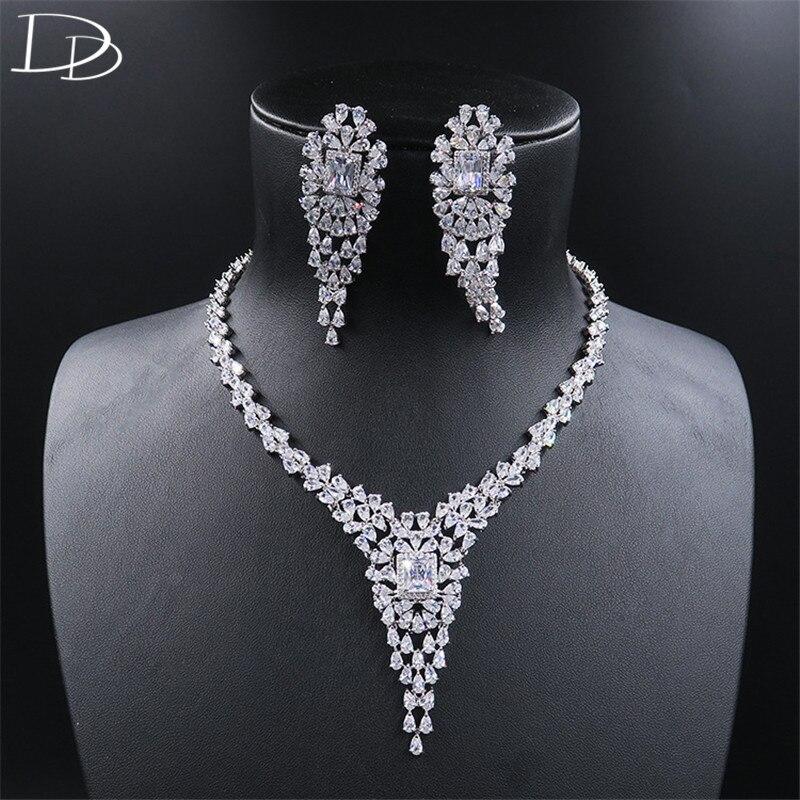 DODO Luxurious Banquet Focus AAA Zircon Jewelry Sets Elegant Necklace Choker Drop Earrings Set For Women