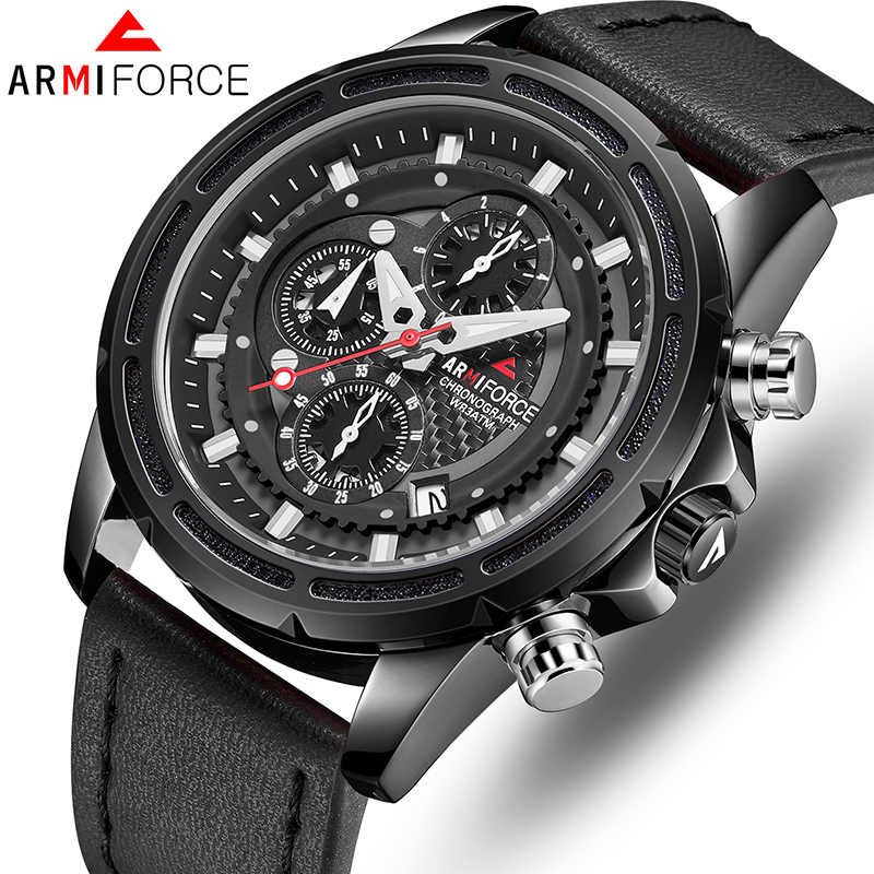 Top ARMIFORCE Luxury Brand Men Watches Quartz Military Mens Leather Sports Watches fashion Men's WristWatch Waterproof Clock