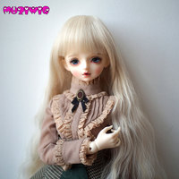 High temperature Fiber Synthetic Light Blonde Long Body Wavy Curly Hair Wig With Bangs for 1/3 1/4 1/6 BJD On Sale In MUZIWIG