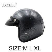 UXCELL Koolstofvezel Patroon 3/4 Open Gezicht Motorhelm w Afneembare Vizier Rijden Motor Driver Helm Hoofd COVER
