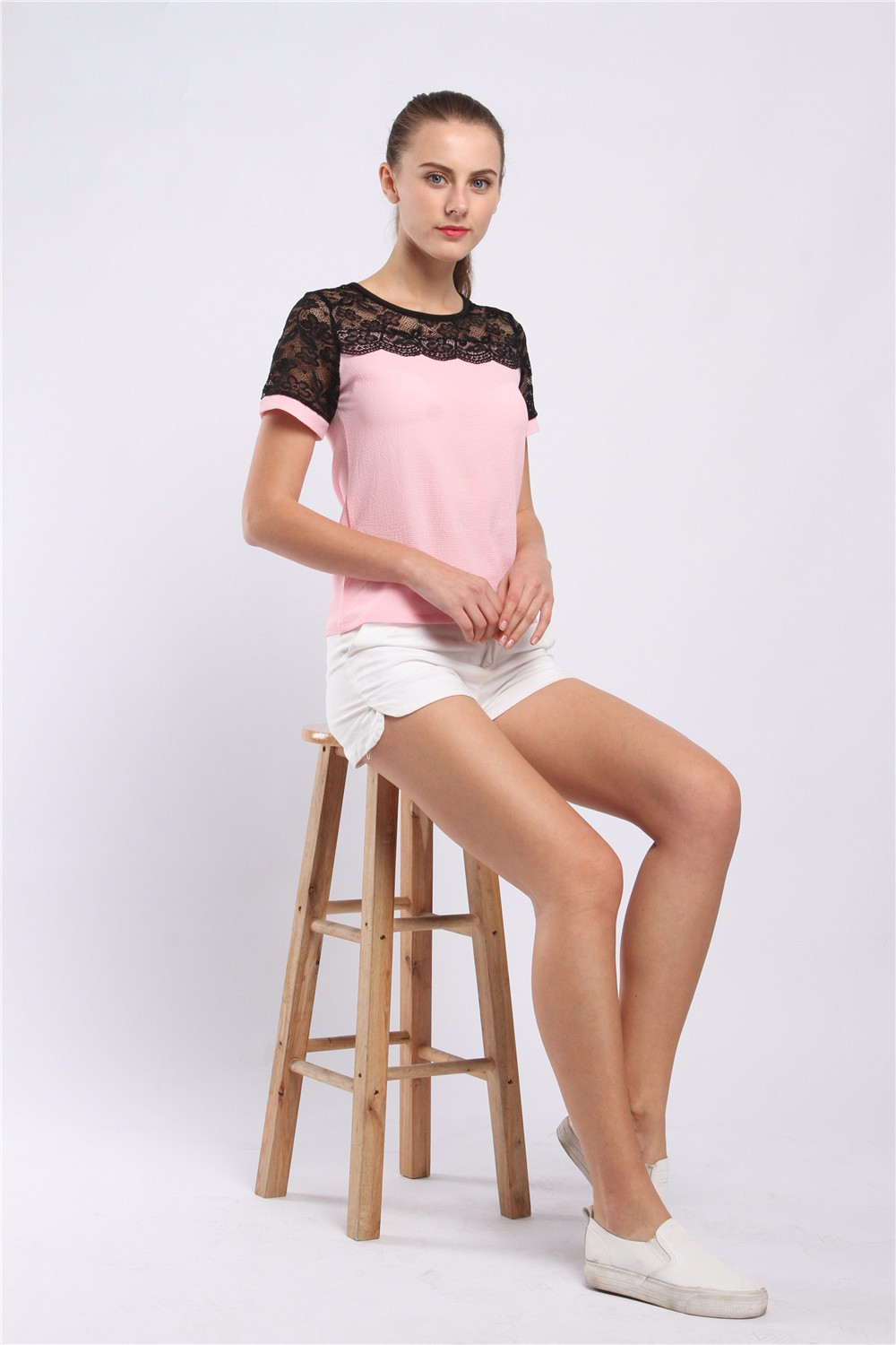 Women Blouses Summer Lace Chiffon Blouse Casual Blusa Feminina Tops Fashion Chemise Femme Shirts Plus Size 5XL Red White Pink 21