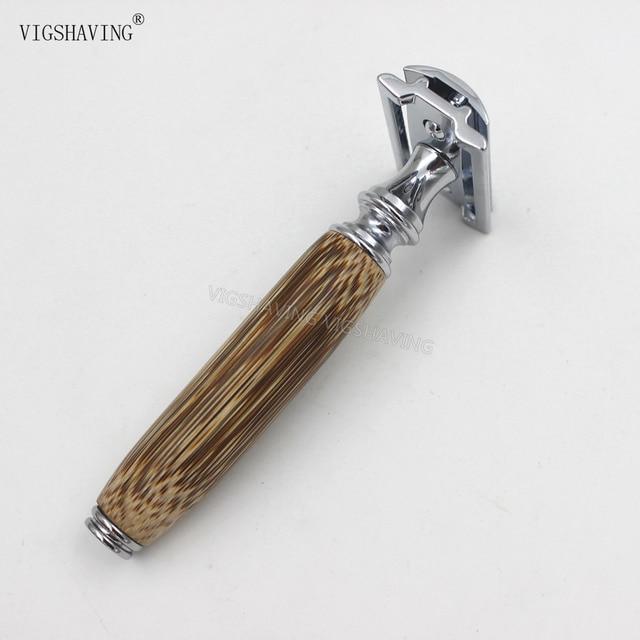 Ручной Бамбуковой Ручкой Двойное Ребро Безопасности Бритья Бритвой для Мужчин удаление волос бороды