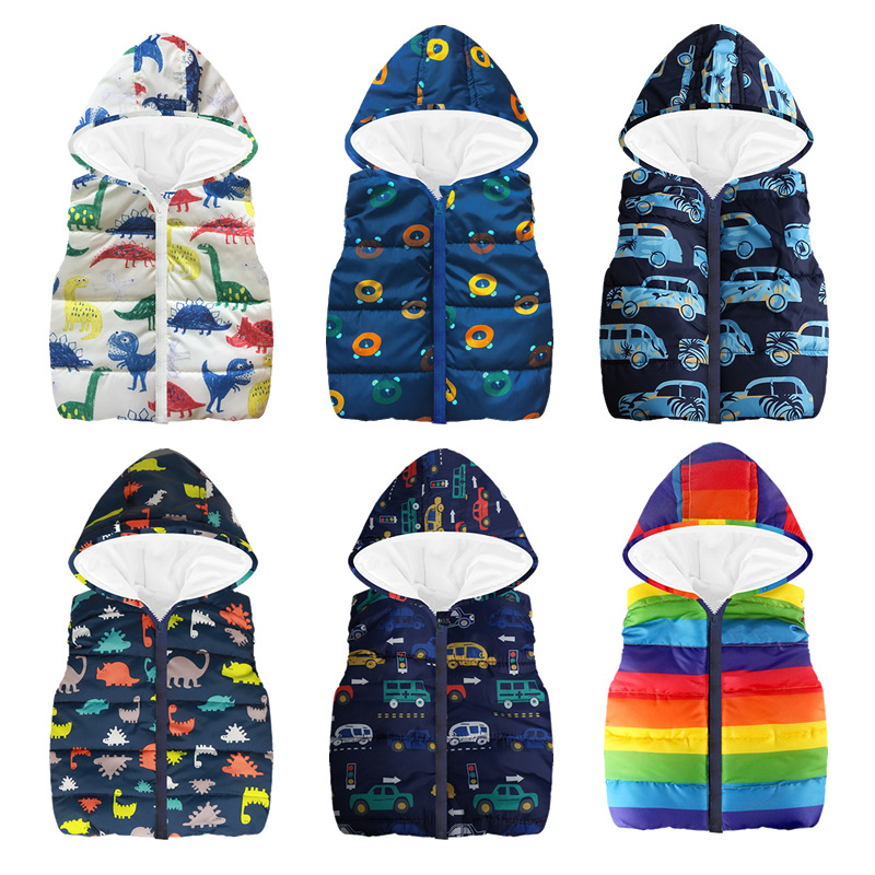 Cheaper Autumn Winter Warm Kids Vests For Boys Cartoon rainbow Dinosaur Outerwear Sleeveless Hooded Jackets Gilet Baby Boy Coats mint green casual sleeveless hooded top