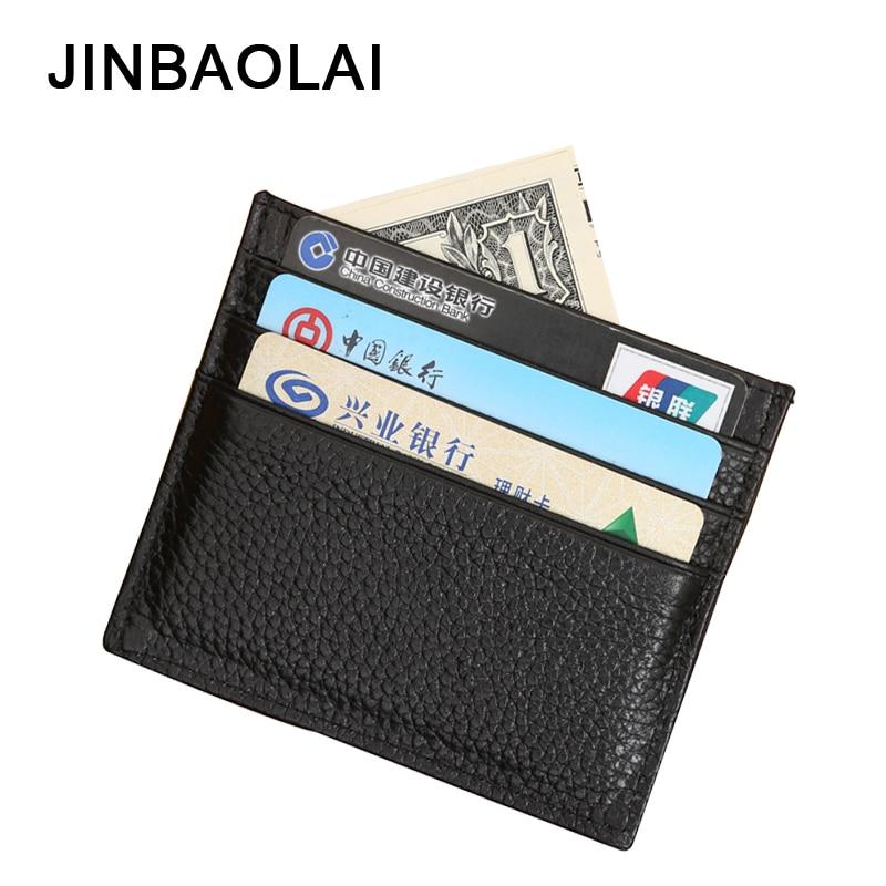 JINBAOLAI-billeteras de cuero de vaca para hombre, carteras masculinas a la moda, con soporte para tarjetas de crédito, pequeñas y suaves, color negro, Cartera de hombre
