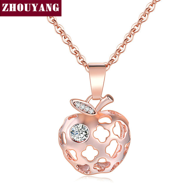 ZHOUYANG Delicate Hollow Out Apple Shape RoseGold Color Pendant