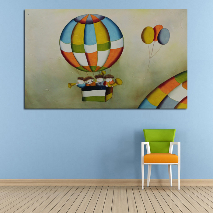 Handpainted Oil Paintings Kids Concert Playing Art Pictures High Quality Lovely Decorative Wall Pictures on Canvas Home Decor