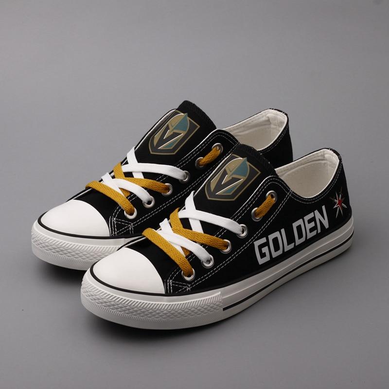 2018 Hot Sale Black Canvas Shoes Vegas Golden Knights Fans Shoes New Print Low Top Lace Shoes Flat Shoes Gift