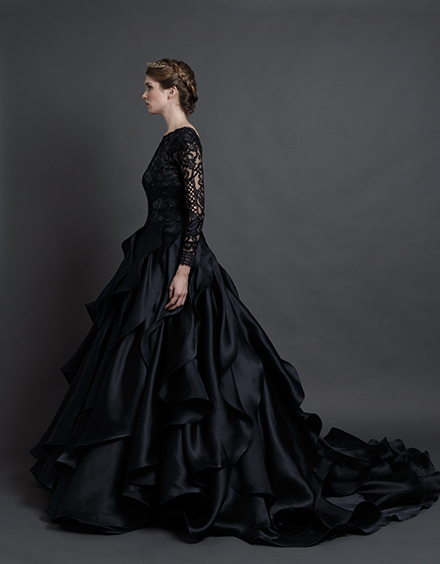 Black Gothic Wedding Lace Long Sleeve Ball Gown Backless Gowns Bridal Vestido Novia Corto In From Weddings Events