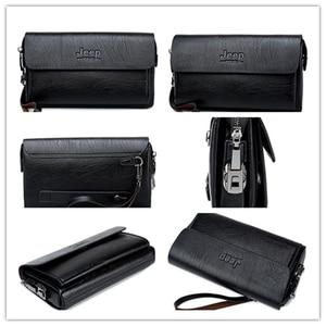 Image 3 - Jeep Buluo Beroemde Merk Heren Handtas Dag Koppelingen Tassen Luxe Voor Telefoon En Pen Hoge Kwaliteit Gemorst Lederen Portefeuilles hand Tas