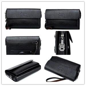 Image 3 - ジープbuluo有名なブランド男性のハンドバッグ日クラッチバッグ高級電話とペン高品質革の財布をこぼしハンドバッグ