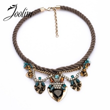 2014 Rope Knitted  Crystal Flower Choker Necklace Statement Free Shipping (Min Order $20 Can Mix)