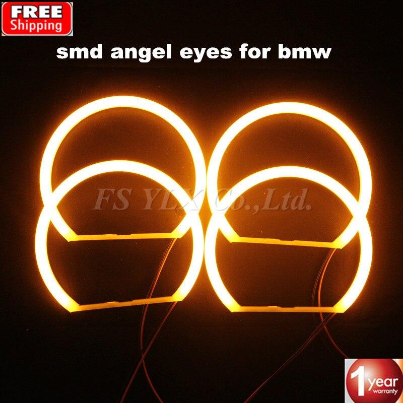 SMD светодио дный Ангельские глазки для BMW E46 проектор хлопок Желтый янтарь автомобиль светодио дный Ангел глаз halo Фары для BMW E46 E36 E39 E38 4x131 мм