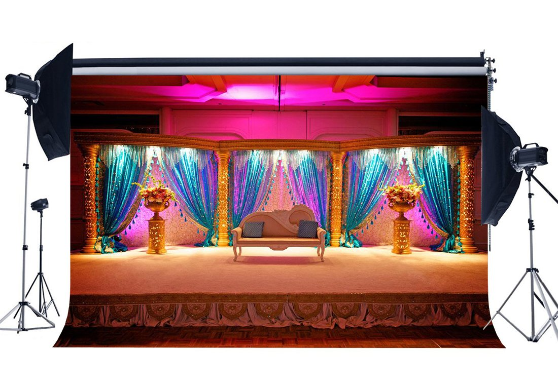 Luxurious Stage Backdrop Interior School Show Backdrops Fancy Shining Curtain White Chair Shabby Carpet Photography Background-in Photo Studio Accessories from Consumer Electronics