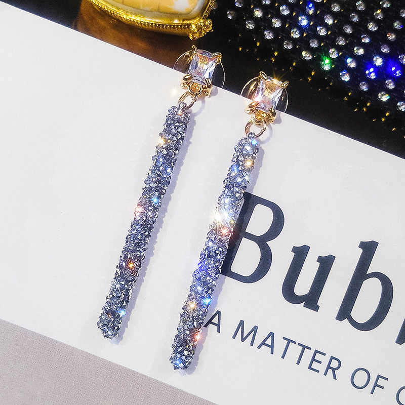 FYUAN Fashion Long Tassel Crystal Earrings for Women Girl Druzy Resin Cylinder Pendant Drop Dangle Earrings Party Jewelry Gifts