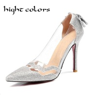 Plus Size Shoes Women Bow Thin Heel Pumps 2017 Butterfly Pointed Stiletto Woman High Heels Wedding
