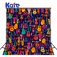 KATE 5x7ft Cartoon Guitar Musical Instrument Photo Punk Festival Backdrops For Kids Backdrop For Music Studio