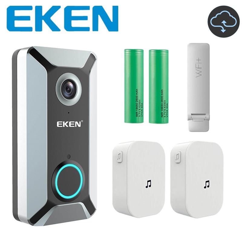 EKEN V6 Silver 720P Wifi Waterproof Video Doorbell Camera Smart Wireless Cloud Storage Home Security House Intercom Door Bell