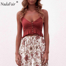 Nadafair linen lace patchwork camis tank tops women v neck buttons ruffles hollow out casual sexy summer tops crop tops women