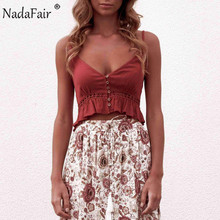 Nadafair linen lace patchwork camis tank tops women v neck buttons ruffles hollow out casual sexy