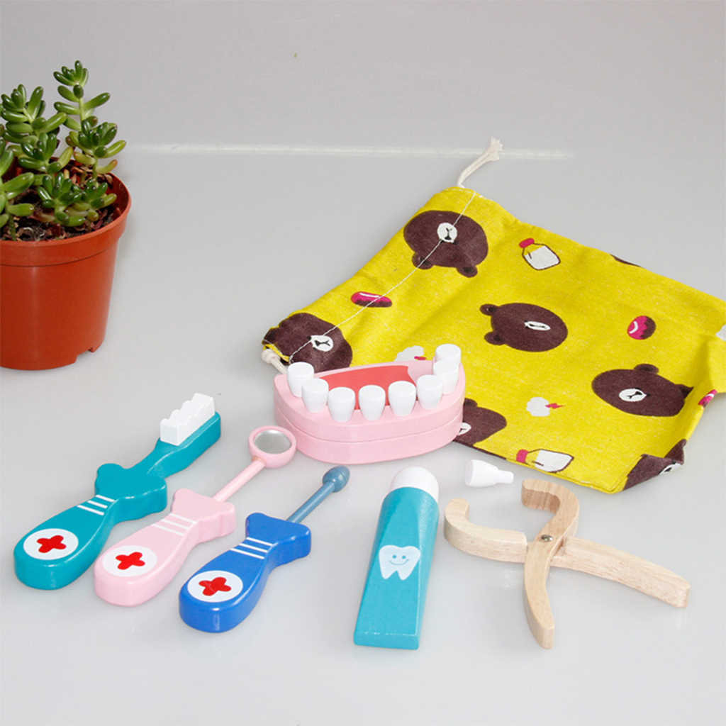 Забавный Медицинский Набор для доктора и медсестры, деревянные ролевые игры, стоматологическая игра, Обучающие деревянные гаджеты, набор инструментов, реквизит