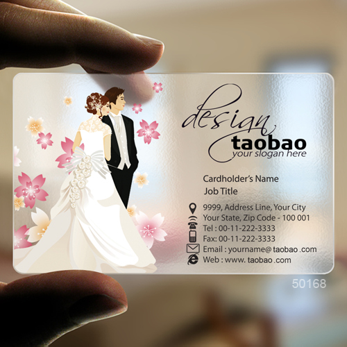 business card for wedding dress flower with extra white ink printing  free design Y0045