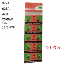 10 PCS 377 Battery AG4 LR626 626 1.55V sr626sw CX66 Alkaline Watch Button Cell Battery For Watch  Toys Remote Coin Battery tianqiu ag4 lr626 377 1 55v alkaline cell button battery silver 10 pcs