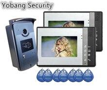 Yobang Security freeship villa Video Door Phone smart video Intercom System 5RFID Keyfobs Doorbell Camera 1camera and 2 Monitor