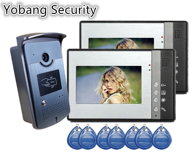 Yobang Security freeship villa Video Door Phone smart video Intercom System 5RFID Keyfobs Doorbell Camera 1camera and 2 Monitor freeship 10 door intercom security system hands free monitor color tft lcd screen intercom system video door phone for villa