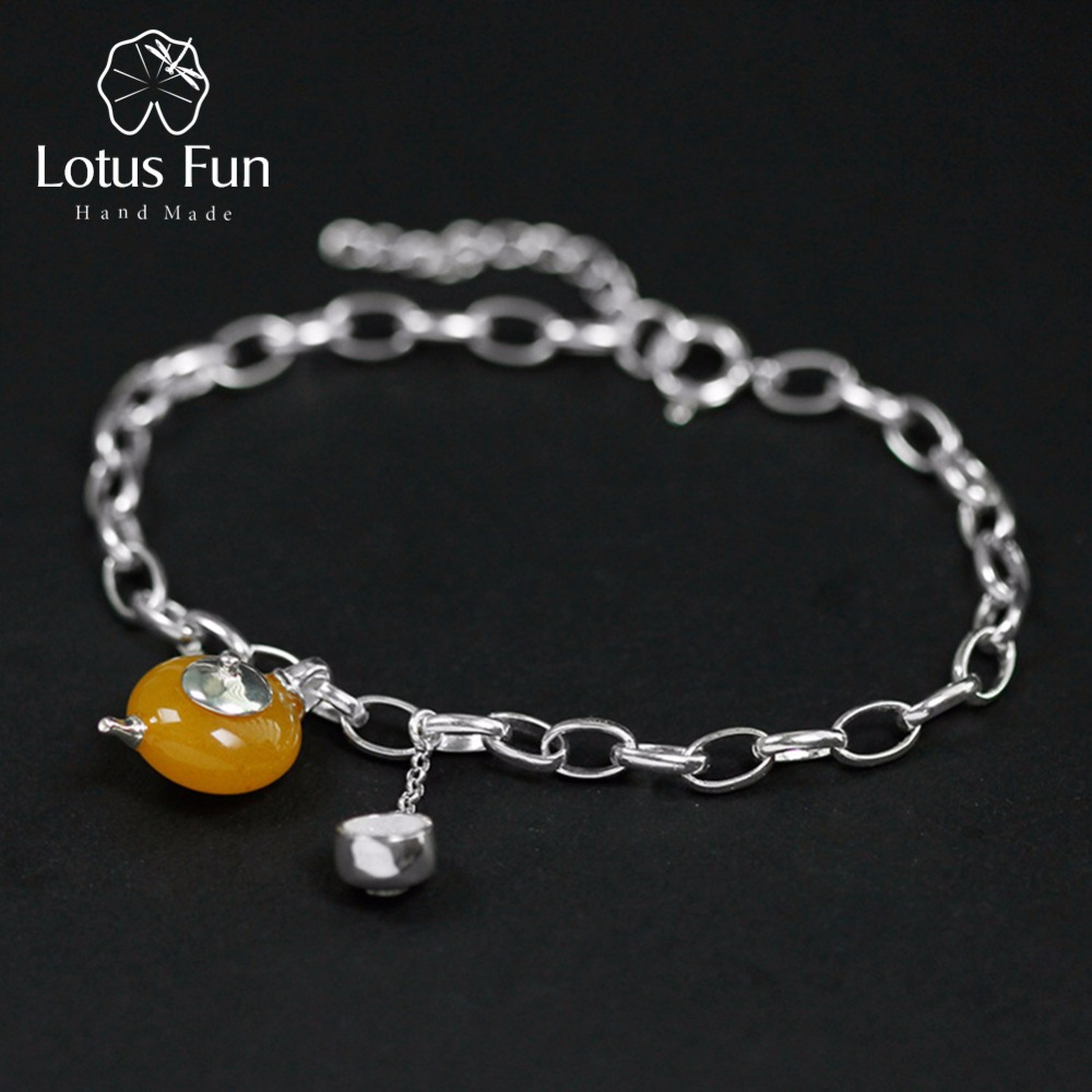 Lotus Fun Real 925 Sterling Silver Bracelets for Women Amber Fine Jewelry Teapot & Cup Charm Pendant Link Chain Bracelets Bangle