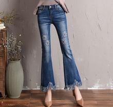 Cotton blend new fashion casual jeans denim hollow out flare pants for women plus size tassel capris elastic trousers yqy0702