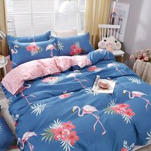 Luxury Blue Flamingos Bedding Sets 3/4pcs Geometric Pattern Bed Linings Duvet Cover Bed Sheet Pillowcases Cover Set цена 2017
