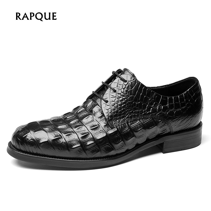 Male dress shoes genuine cow leather Luxury Design potent man led shoes party men Alligator top quality successful people RAPQUE
