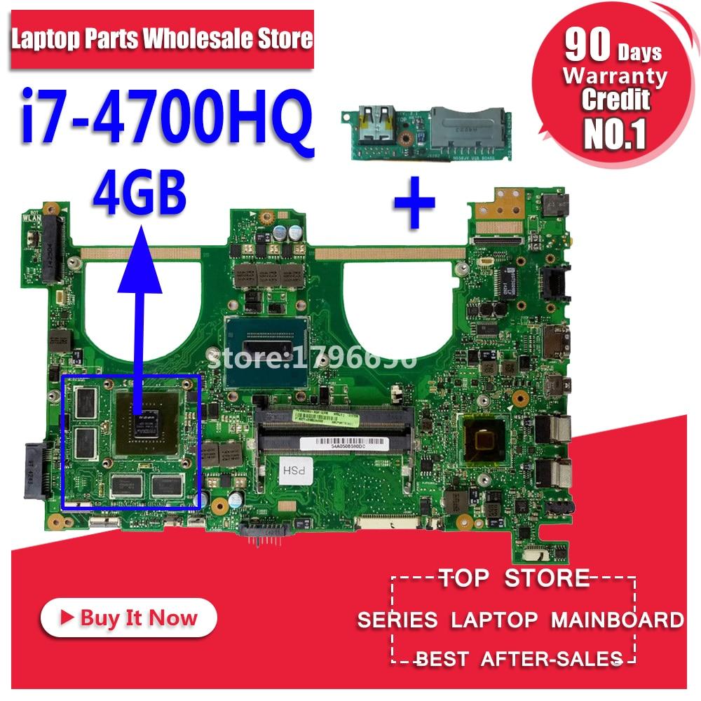 Envoyer conseil + N550JV Carte Mère i7-4700HQ gt750 Pour ASUS N550JK G550JK Q550J ordinateur portable MotherboardN550JV Carte Mère N550JV Carte Mère