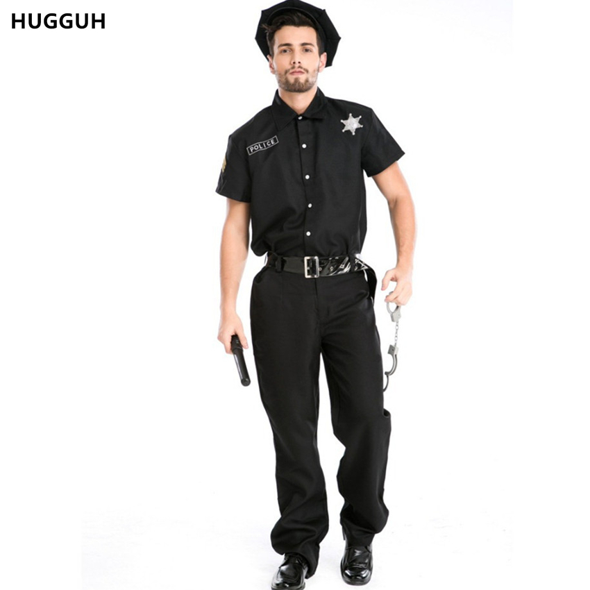 HUGGUH New Mens Clothing Set Halloween Masquerade Police Costume USA Police Role Play Cosplay Costume Male Clothes H157115