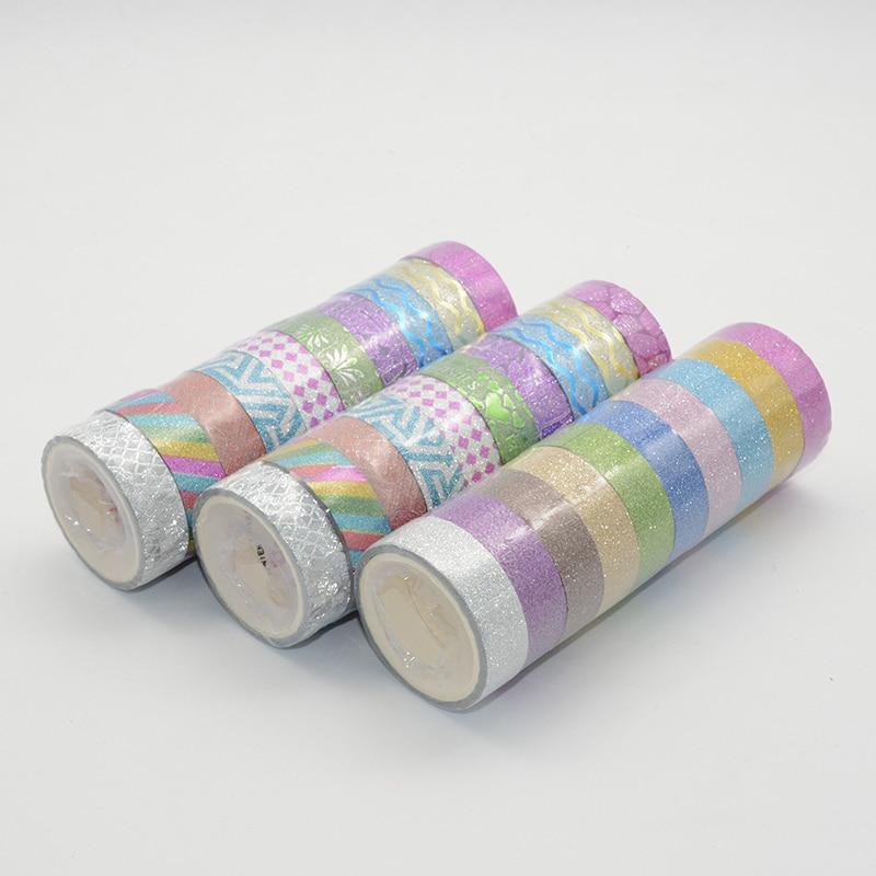 Glitter Washi Tape Set Washitape Masking Tapes Stickers Scrapbooking Fita Adesiva Pack Cute Japanese Stationery Christmas