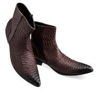 martin boots 2018 Botas hombre mens winter footwear british style chelsea boots side zipper crocodile skin cowboy boots mens