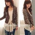 Coreano Leopard manga comprida V Neck Double Breasted casacos Womens Tops fina Blazer Suit