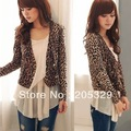 Korean Leopard Long Sleeve V Neck Double Breasted Womens Outerwear Tops Thin Blazer Suit