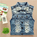 Hot  New Spring Retro Washed Sleeveless Personalized Cardigan Jeans Denim Vest Waistcoat Coat Jacket