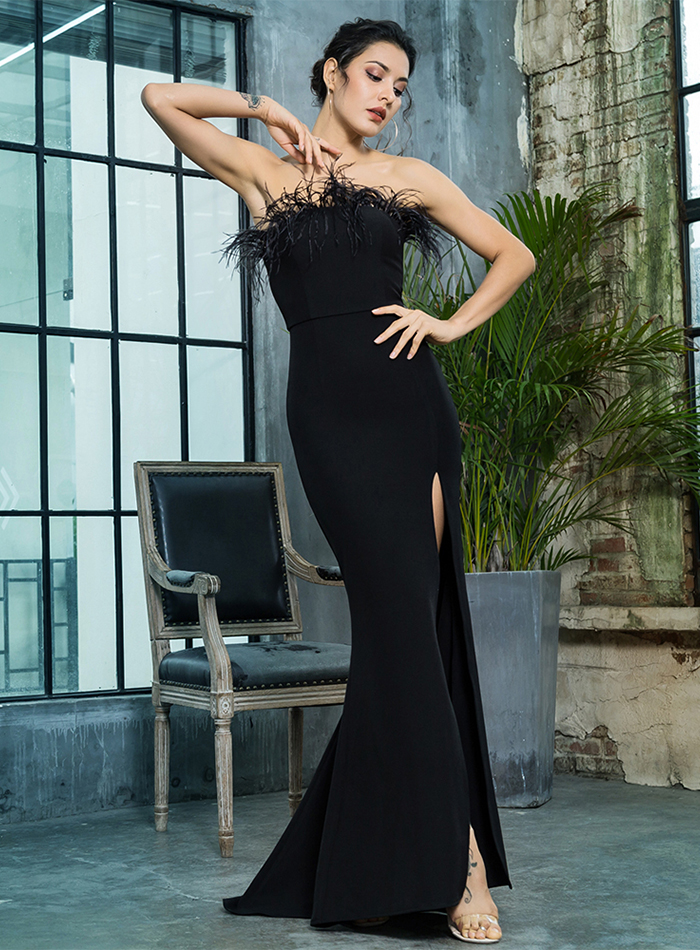 Black Strapless Cut Out Feather Long Dress 5