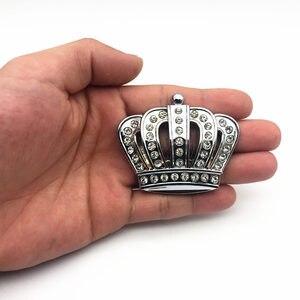 Image 2 - Стайлинг автомобиля металлическая Золотая Корона эмблема наклейка с Стразы автомобильный значок наклейка стикеры аксессуары маленький размер