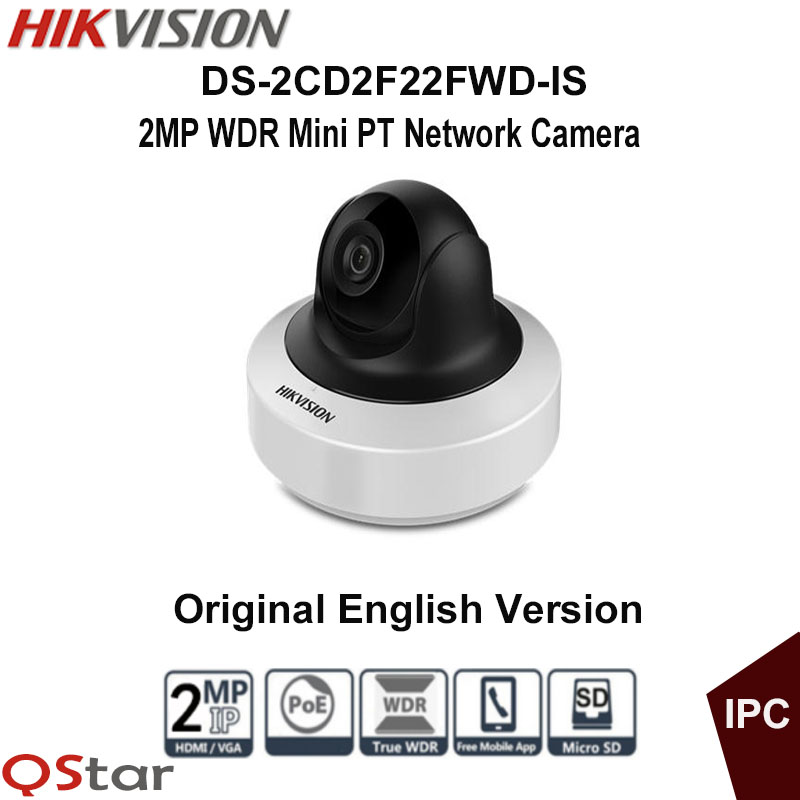 Hikvision Original English 2MP Mini PT IP Camera DS-2CD2F22FWD-IS 1080P CCTV Camera POE Audio WDR 120db up to 10m sd card 128G hikvision ds 2de7230iw ae english version 2mp 1080p ip camera ptz camera 4 3mm 129mm 30x zoom support ezviz ip66 outdoor poe