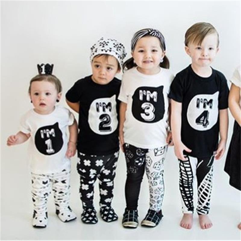 1 2 3 4 Jahre Baby Jungen Mädchen Kleidung Sommer ärmeln T-shirt Kleinkind Kinder Jungen Geburtstag Kleidung Babys T-top Für Party Fest In Der Struktur