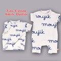 Pre Orden TinyCotton bebé Ropa niñas summer2017 leche niños Patrón de la letra T-shirt de Moda camisetas de manga corta embroma la camiseta C *