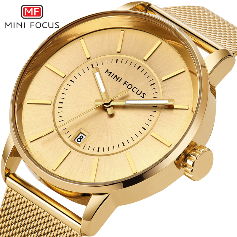 цены  Minifocus Luxury Watches Men Waterproof Quartz Dress Gold Watch Steel Mesh Watchband Montre Homme Marque De Luxe Date Clock Male