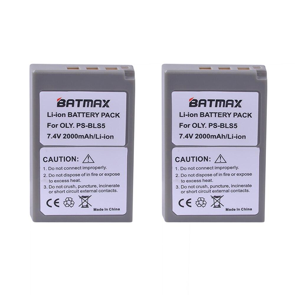 2 Stück 2000 mAh PS-BLS5 BLS-5 BLS5 BLS-50 BLS50 Batterie für Olympus PEN E-PL2, E-PL5, E-PL6, E-PL7, E-PM2, OM-D E-M10, E-M10 II, Stylus1