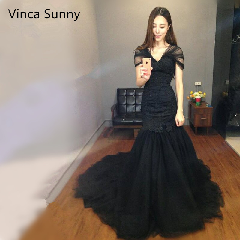 Sexy Black Pearl Mermaid   Evening     Dresses   Lace applique Long   Evening   Gown Robe De Soiree 2019 Prom   dress